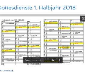 Gottesdienste 1. Halbjahr 2018