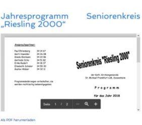 """Jahresprogramm Seniorenkreis """"Riesling 2000"""""""
