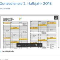 Gottesdienste 2. Halbjahr 2018