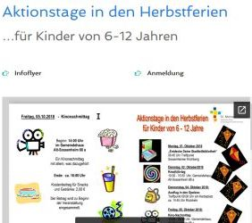 Aktionstage in den Herbstferien…